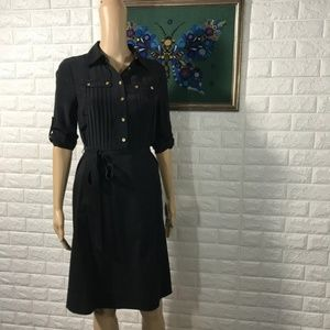 Tory Burch Black Shirt Dress Gold Buttons 2 Silk